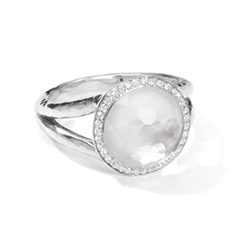 IPPOLITA Sterling Silver Stella Mini Lollipop Ring in Mother-of-Pearl Doublet with Diamonds