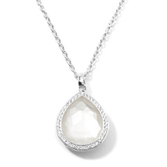 IPPOLITA Sterling Silver Stella Teardrop Pendant Necklace in Mother-of-Pearl Doublet with Diamonds