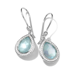 IPPOLITA Sterling Silver Stella Teeny Teardrop Earrings in Blue Topaz and Mother-of-Pearl Doublet with Diamonds