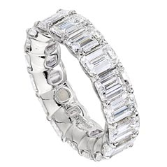 JB Star Platinum Emerald Cut Diamond Eternity Band