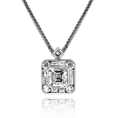 JB Star Platinum Emerald Cut Diamond Pendant