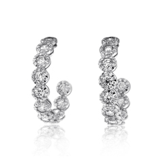 KWIAT 1.80 Carat Sunburst Inside-Outside Diamond Hoop Earrings