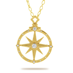 Large Diamond Compass Pendant