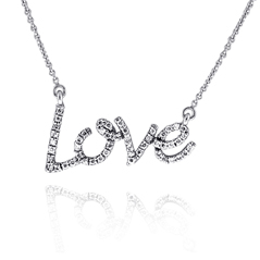 Large Diamond 'Love' Necklace