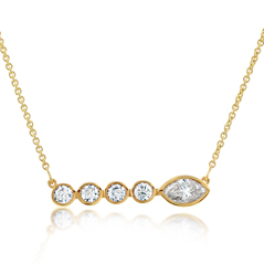 Marquise Diamond Bar Necklace