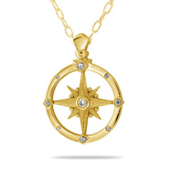 Medium Diamond Compass Pendant