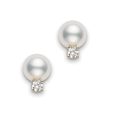 MIKIMOTO 7-7.5mm Pearl & Diamond Earrings