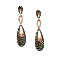 Mocha and Diamond Three Tier Earrings