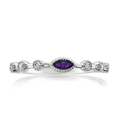 MY STORY Amethyst & Diamond Stackable Ring