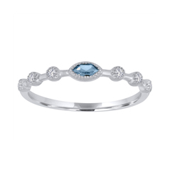 MY STORY Aquamarine & Diamond Stackable Ring