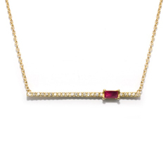 MY STORY Ruby & Diamond Bar Necklace