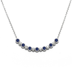 MY STORY Sapphire & Diamond Smile Necklace