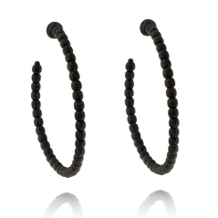 OFFICINA BERNARDI Silver & Black Beaded Hoop Earrings