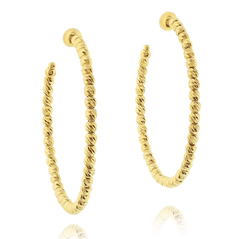 OFFICINA BERNARDI Silver & Gold Beaded Hoop Earrings