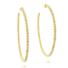 OFFICINA BERNARDI Silver & Yellow Gold Beaded Hoop Earrings