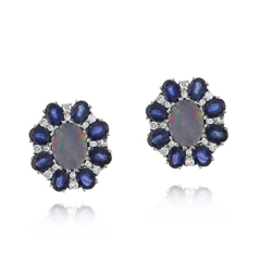 Opal, Sapphire & Diamond Earrings