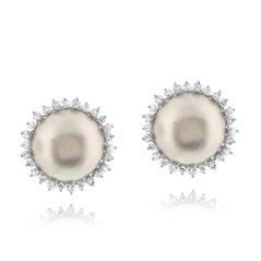 Pearl & Diamond Clip On Earrings