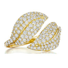 PENNY PREVILLE Diamond Double Leaf Bypass Ring