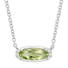 Peridot & Diamond Birthstone Necklace