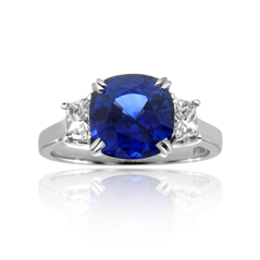 Platinum 3.35 Carat Sapphire & Diamond Three Stone Ring