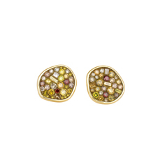 PLEVE Gold Pebble Diamond Stud Earrings