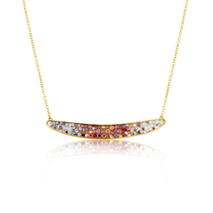 PLEVE Raspberry Ombre Bar Diamond Necklace