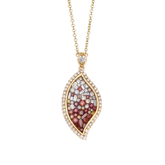 PLEVE Raspberry Ombre Flame Diamond Pendant