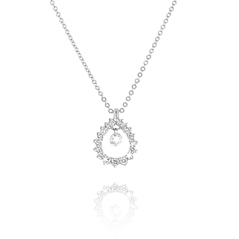 PONTE VECCHIO Vega 18K White Gold Diamond Circle Teardrop Pendant