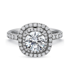 PRECISION SET Extraordinary Cushion Double Halo Diamond Engagement Ring