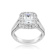 PRECISION SET Triple Row Diamond Engagement Ring