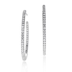 ROBERTO COIN 1.10 Carat Diamond Inside-Out Hoop Earrings