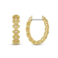 ROBERTO COIN Barocco Diamond Hoop Earrings