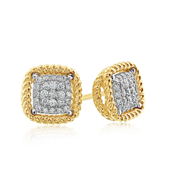 ROBERTO COIN Barocco Diamond Stud Earrings