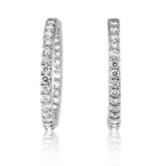 ROBERTO COIN Inside Outside Diamond Hoop Earrings