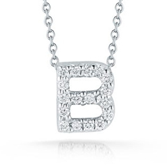 ROBERTO COIN Tiny Treasures Diamond Love Letter 'B' Necklace
