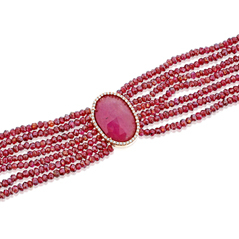 Ruby & Diamond Beaded Bracelet