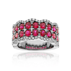 Ruby & Diamond Scalloped Edge Band