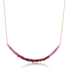 Ruby Beaded Bar Necklace