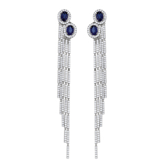 Sapphire & Diamond Fringe Earrings