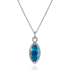 Sky Blue Topaz & Diamond Pendant