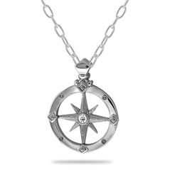 Small Diamond Compass Pendant