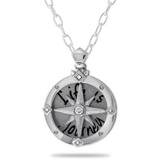 Small Silver Diamond Compass Pendant