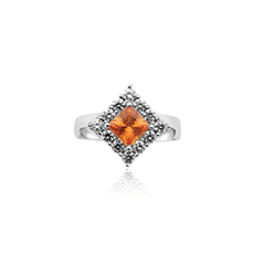 Spessartite Garnet & Diamond Ring