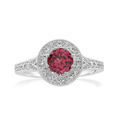 Spinel and Diamond Halo Ring