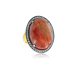 Sunstone and Diamond Ring