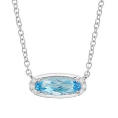 Topaz & Diamond Birthstone Necklace