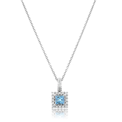 Topaz & Diamond Halo Pendant
