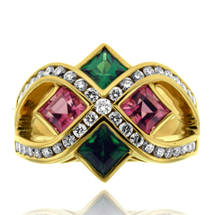 Tsvorite Garnet, Pink Tourmaline and Diamond Fashion Ring