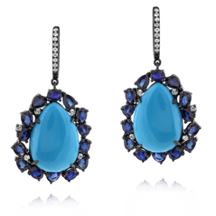 Turquoise & Sapphire Earrings