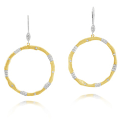 Two Toned Diamond Circle Earrings